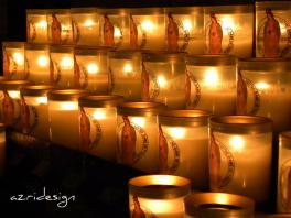 Prayer candles in Notre Dame cathedral, Paris, France, 2010