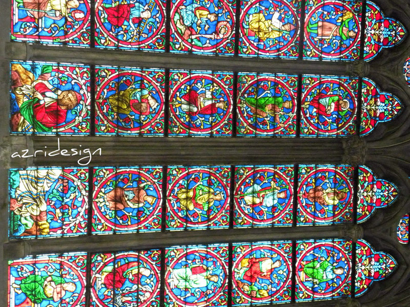 Notre Dame Cathedral interior medieval stained glass panels, Paris, France, 2010