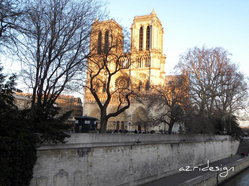 La cathédrale Notre Dame de Paris vue du pont de Boulevard de Saint Michel