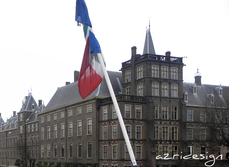 Binnenhof, Hofvijver and flag of the Netherlands - The Hagues, Netherlands, 2011