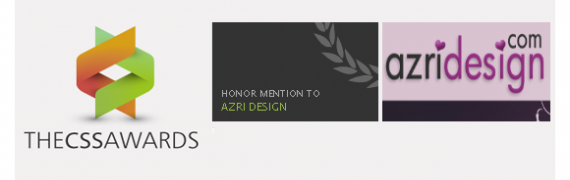 "Azri Design got an Honor Mention from ""The CSS Awards"""