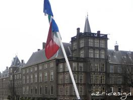 Binnenhof, Hofvijver and flag of the Netherlands - The Hagues, Netherlands, 2011