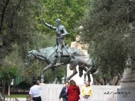 Miguel Cervantes Monument with Don Quixote and Sancho Panza in Madrid
